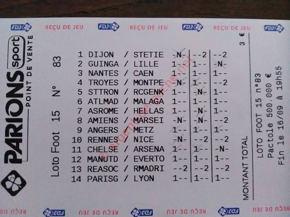 gain loto foot 15